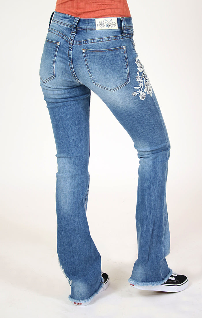 White Floral Embroidered Bootcut Jeans | 2194