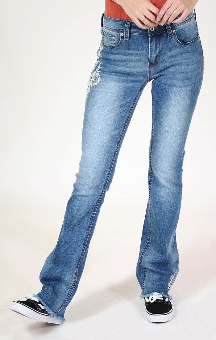 White Floral Embroidery Bootcut Jeans | 2194