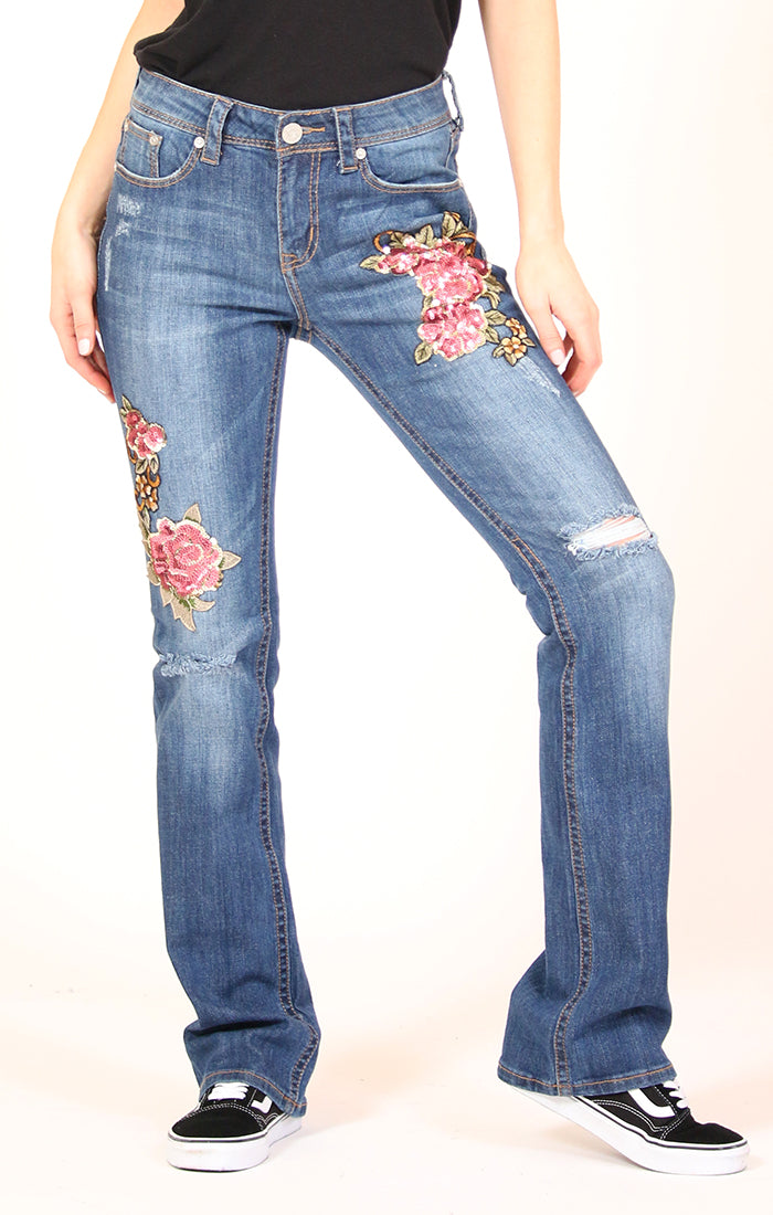 Red Floral Embroidered Bootcut Jeans | 2195