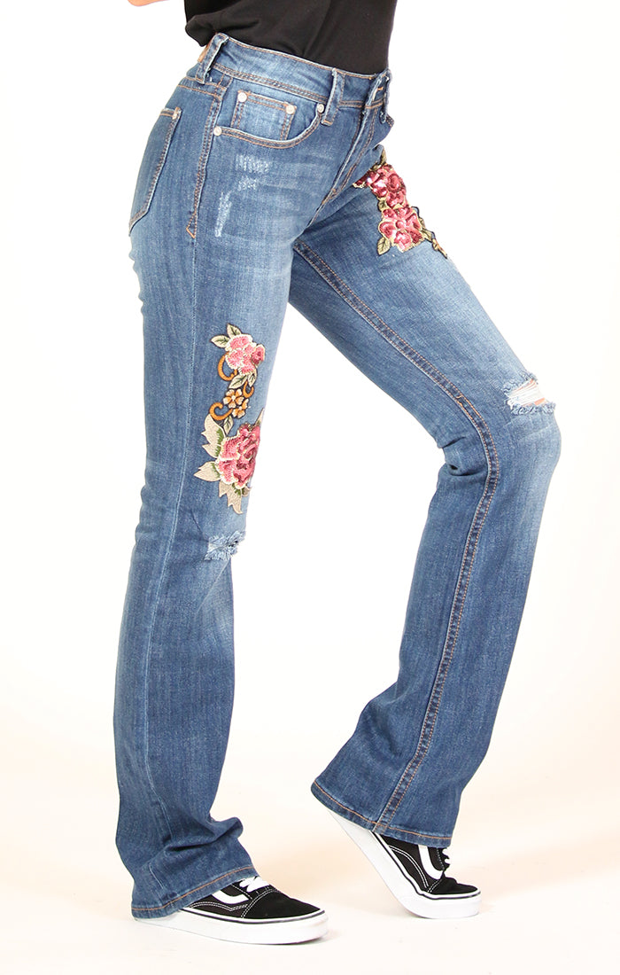 Red Floral Embroidered Bootcut Jeans | EB-2195