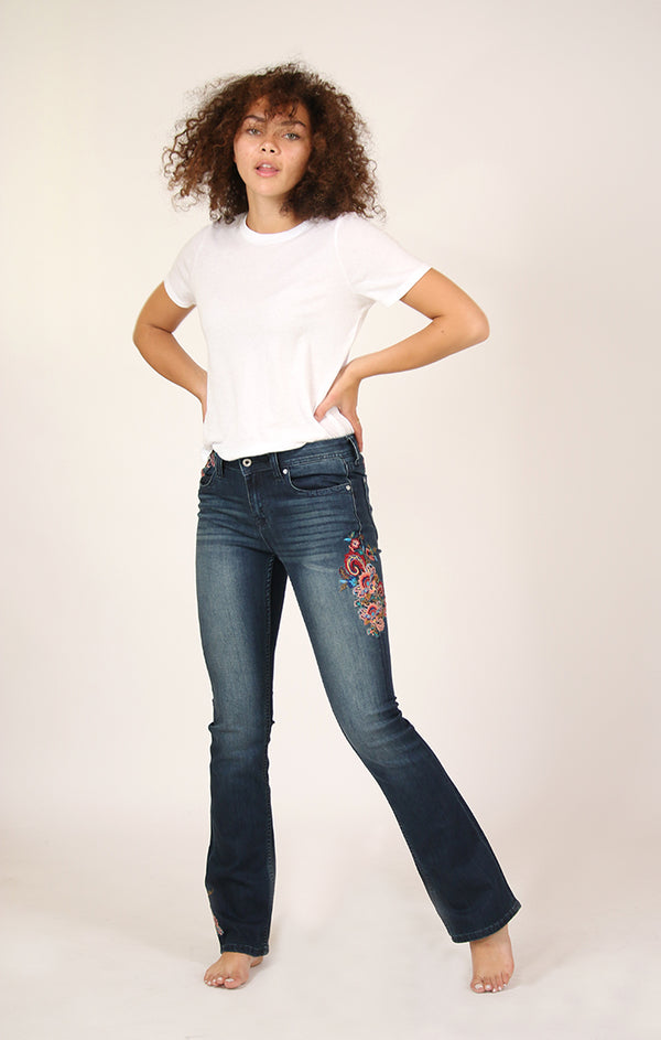 Bright Floral Embroidered Knit Denim Bootcut Jeans | EB-3236