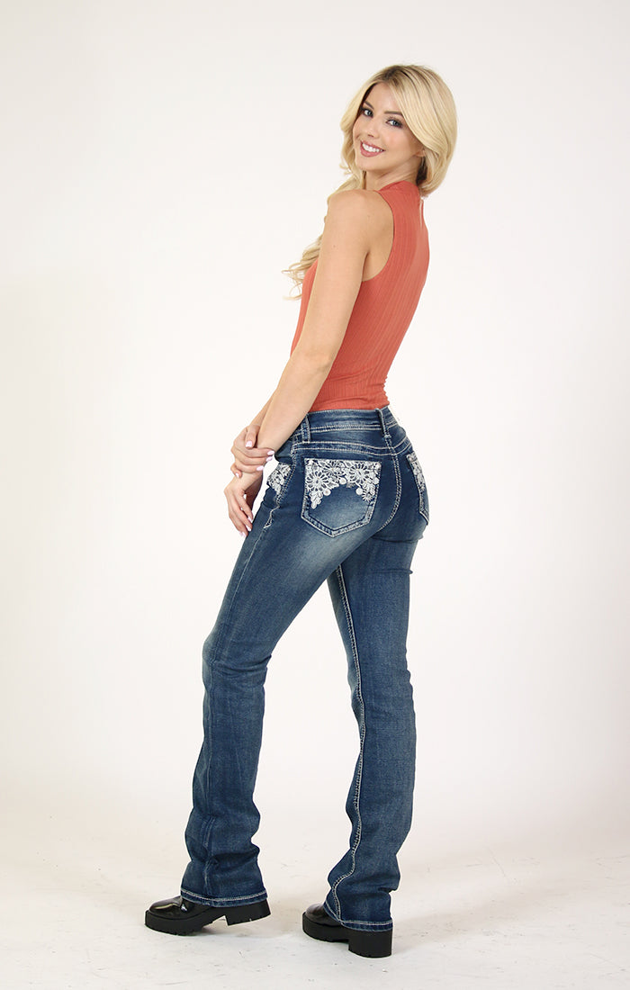 Floral Embroidered Knit Denim Easy Bootcut Jeans | EB-3292-KT