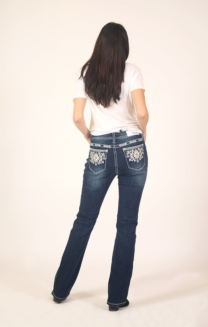 Gray Aztec Embellished Dark Wash Easy Bootcut Jeans | EB-3300-GY