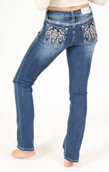Brown Tribal Embroidered Mid Rise Bootcut Jeans | EB-3303-BRW