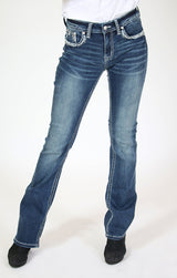 Aztec Embellished Easy Bootcut Jeans | EB-3307