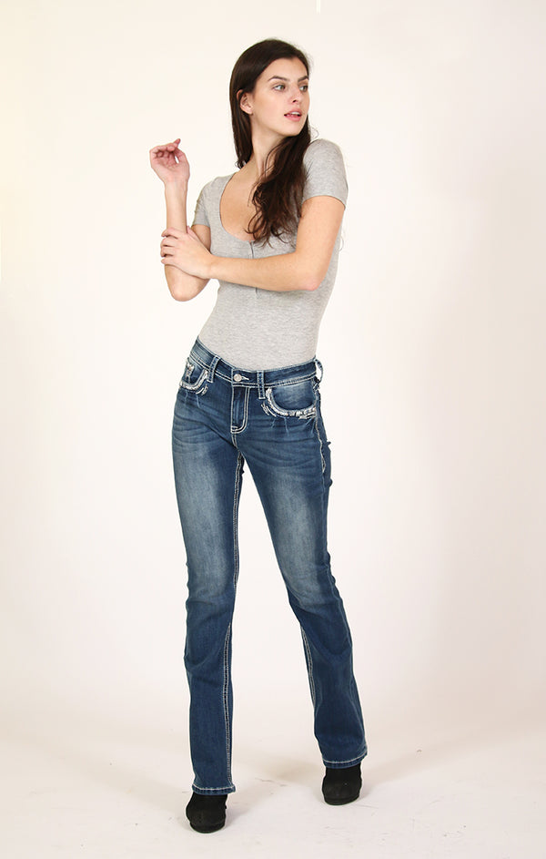 Blue Stitched Embellished Low Rise Bootcut Jeans | JB-3308