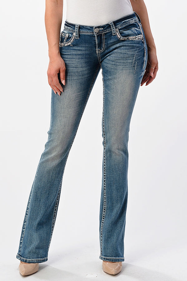 Abstract Color Stitched Lines  Mid Rise Bootcut Jeans | EB-51300