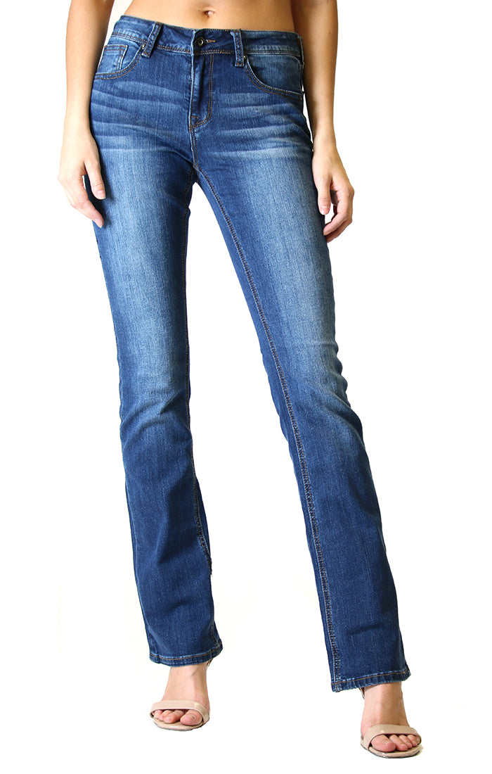 Medium wash bootcut jeans with natural hand-sanding and whiskering