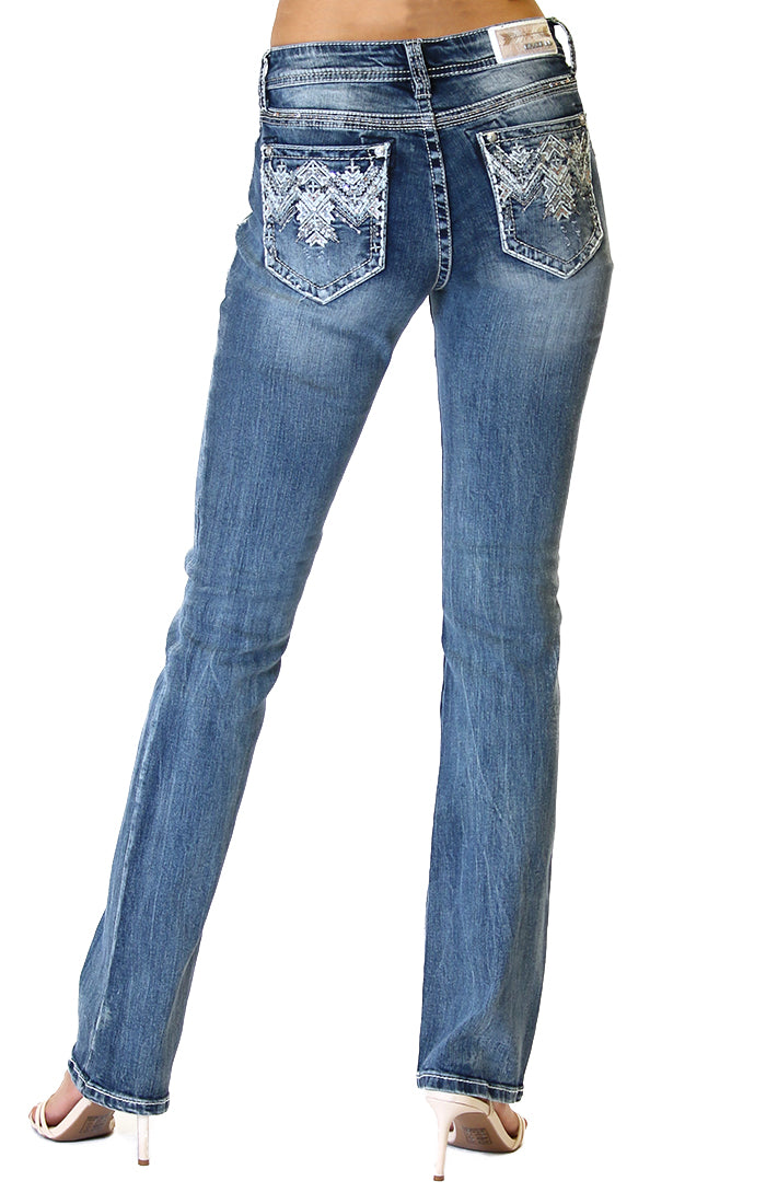 Western Aztec Embellished Easy Bootcut Jeans | EB-51390