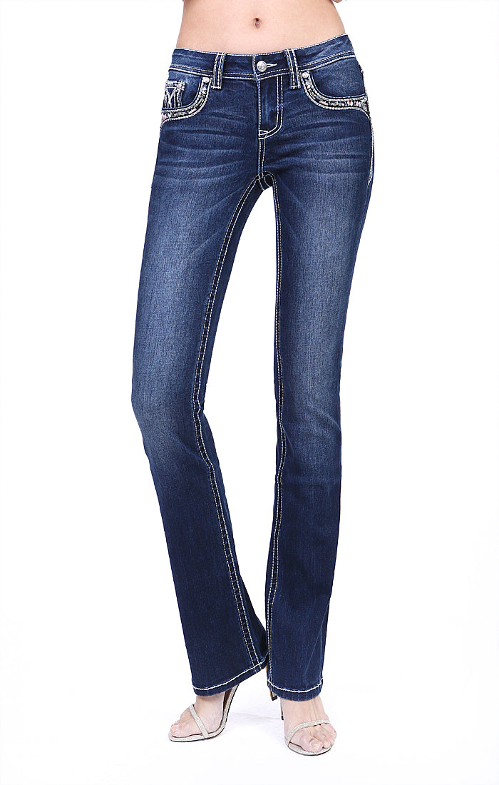 Stitched Embroidered Flap Pocket Mid Rise Bootcut Jeans | EB-51513