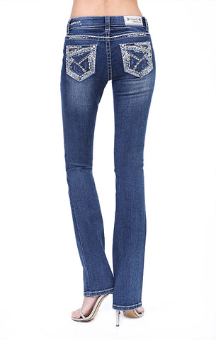 Zig Zag Stitched Embroidered and Embellished Bootcut Jeans | 51535