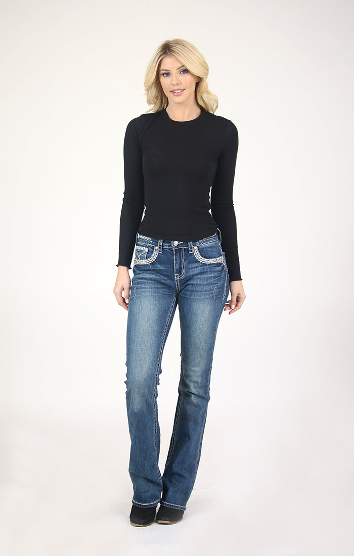 Stitched Embroidered Easy Bootcut Jeans | EB-51519
