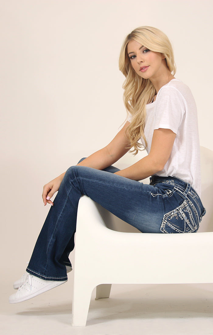 Abstract Stitched Lines Border Mid Rise Bootcut Jeans | 51523