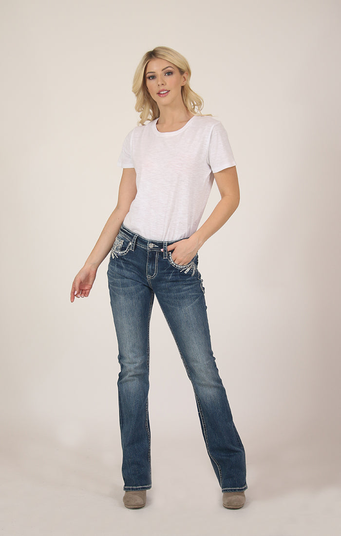 Medium Wash Stitched Embroidered Mid Rise Bootcut Jeans | EB-51526