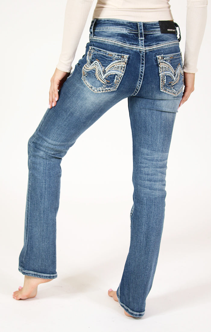 Western Embellished Easy Bootcut Jeans | EB-51527