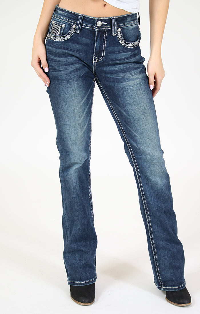 Stripped Sequin Yoke And Flap Pocket Bootcut Jeans | 51550