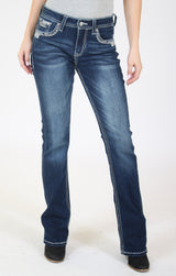 Dark Wash Sliver Stitched Embroidered Bootcut Jeans | JB-51561-SL
