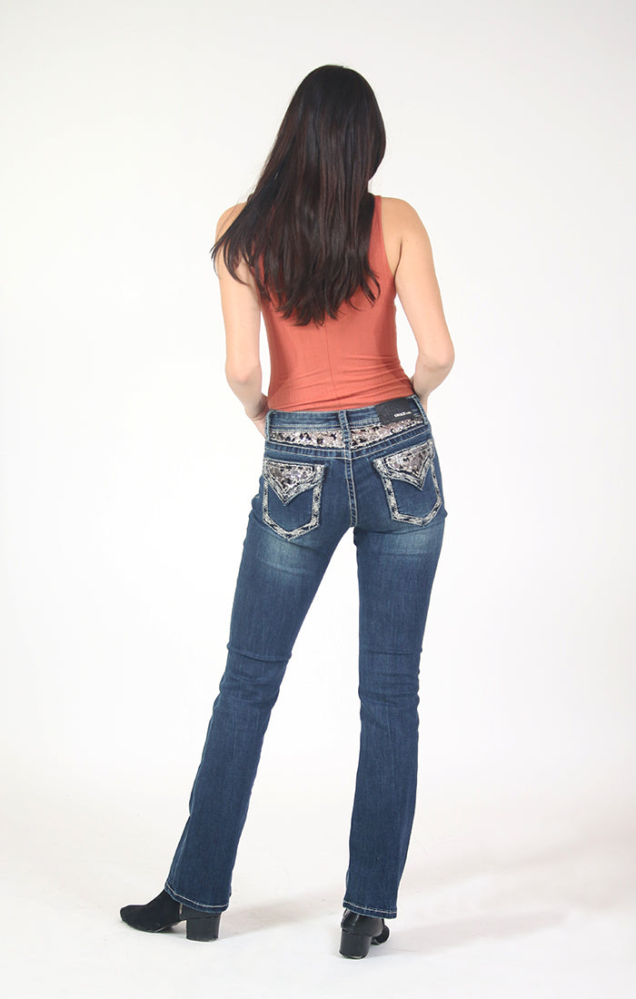 Sequin Yoke And Flap Pocket Bootcut Jeans  | 51565