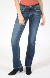 Sequin Yoke And Flap Pocket Bootcut Jeans  | JB-51565