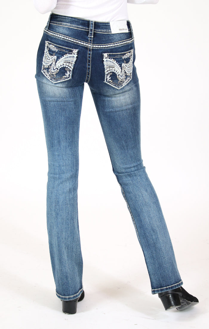 Wave Embellished Mid Rise Bootcut Jeans | EB-51575-ND