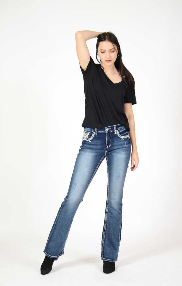 Ornate Embellished Knit Denim Mid Rise Bootcut Jeans | EB-51599-DKKT