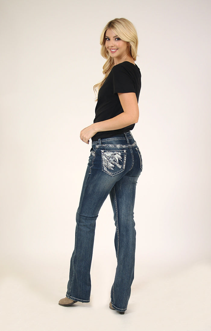 Whimsical Embellished Bootcut Jeans | 61339