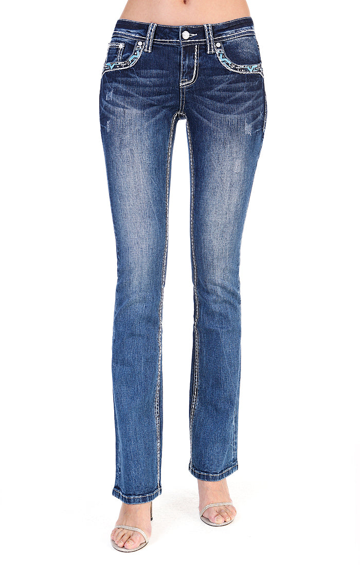 Feather Embroidered Easy Bootcut Jeans | EB-61347