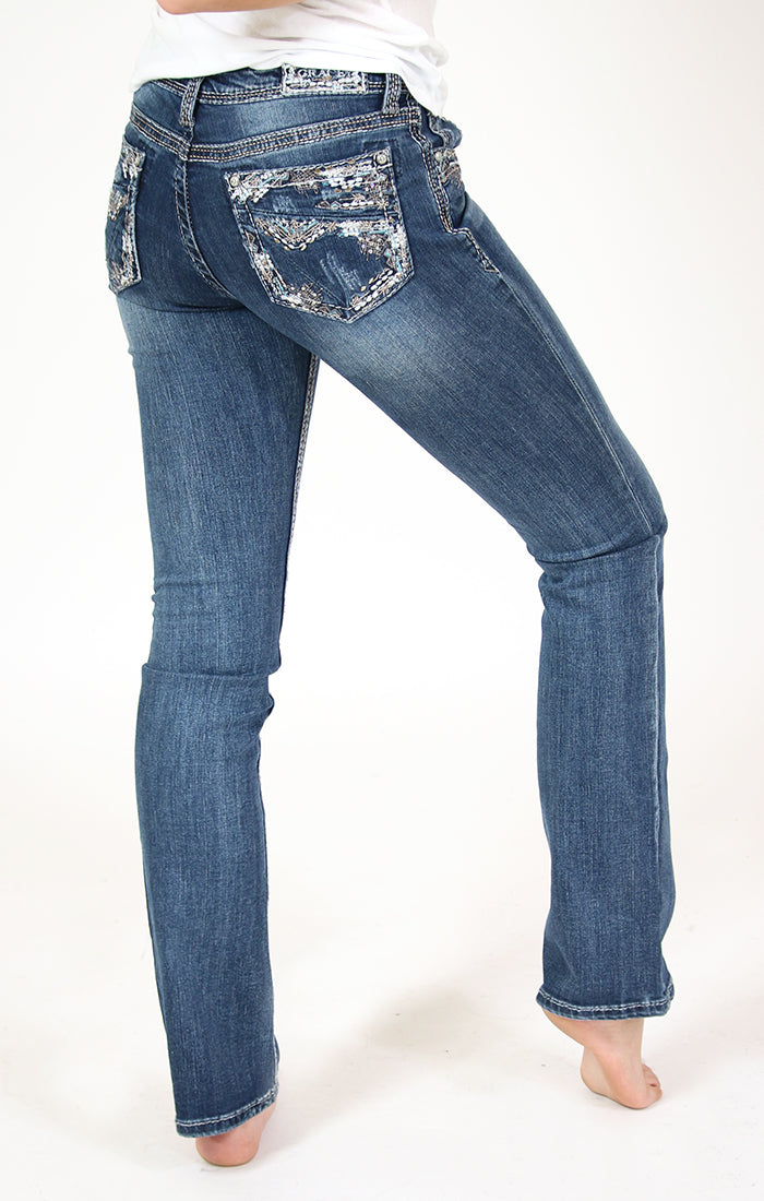 Stitched Embellished Easy Bootcut Jeans | EB-61350