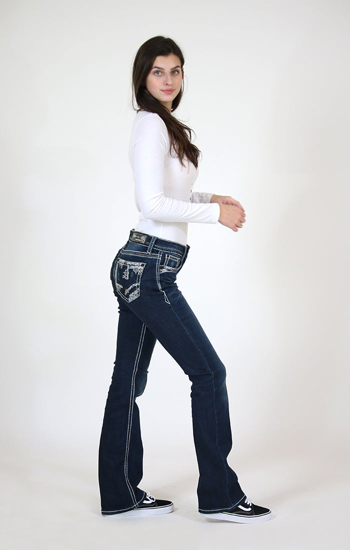 Dark Wash Chevron Embroidered Easy Bootcut Jeans | EB-61353