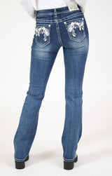 Stitched Foxtails Pleather Embellished Mid Rise Bootcut Jeans | EB-61370