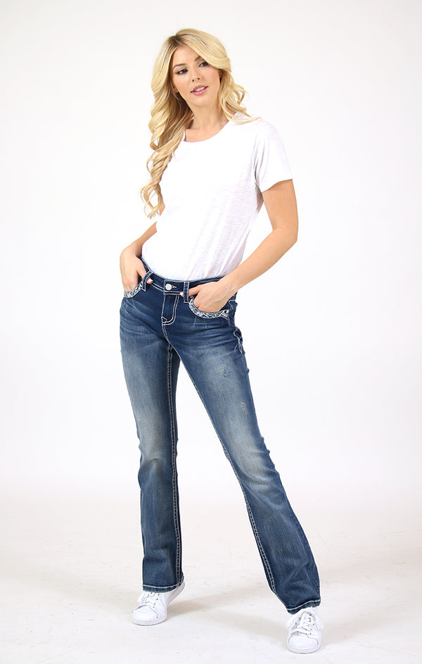 Aztec Embellished Mid Rise Bootcut Jeans | EB-61382-32
