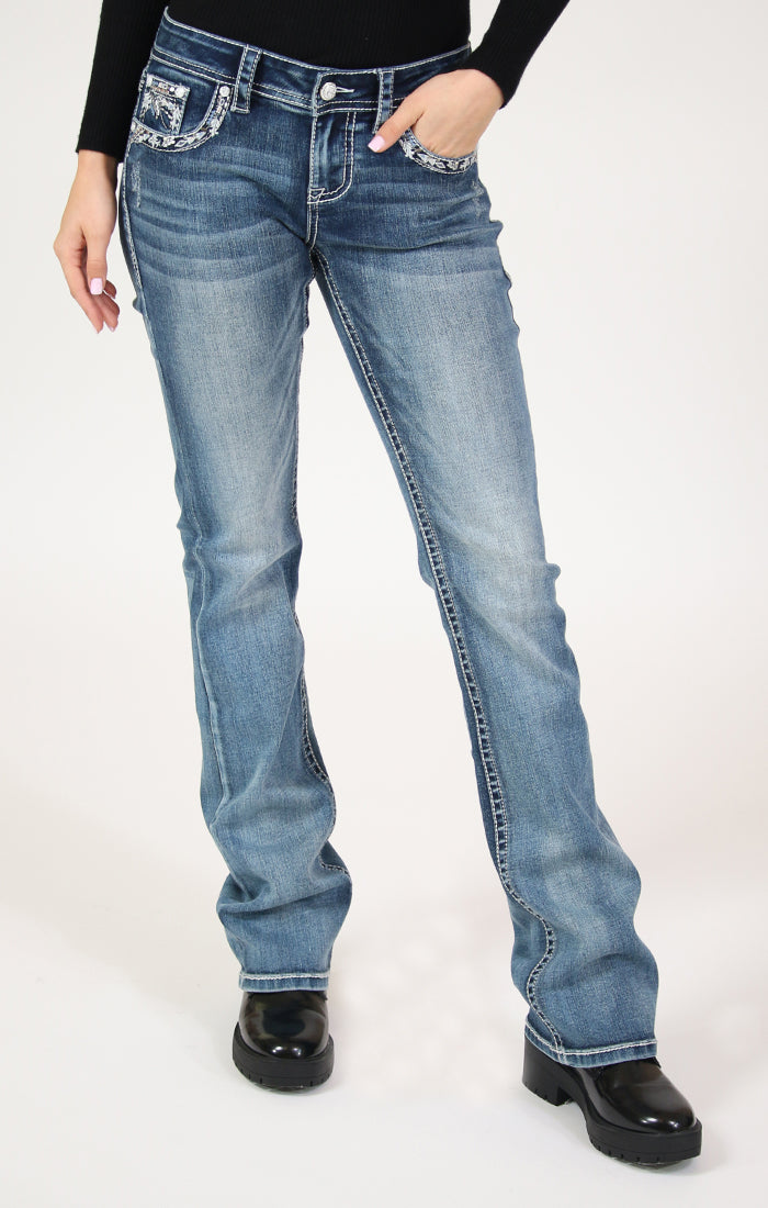 Tribal Embellished Mid Rise Bootcut Jeans | EB-61396