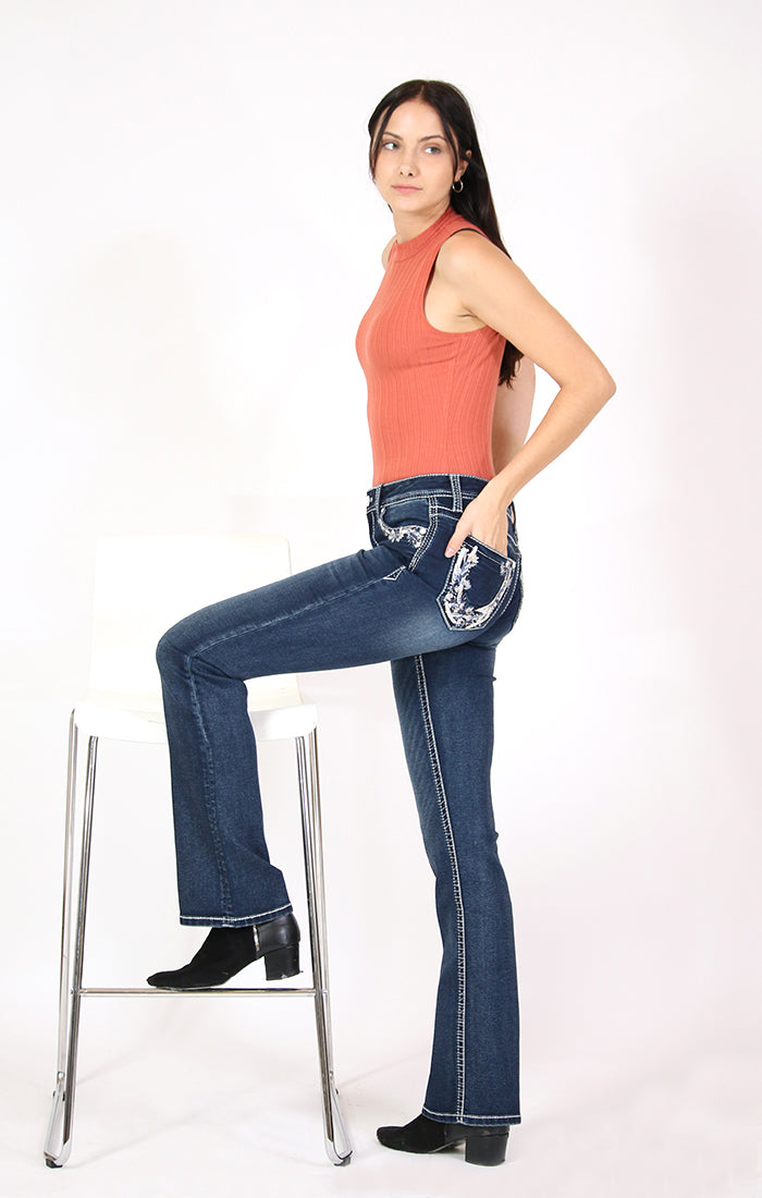 Floral Horseshoe Embellished Knit Denim Bootcut Jeans | 61402