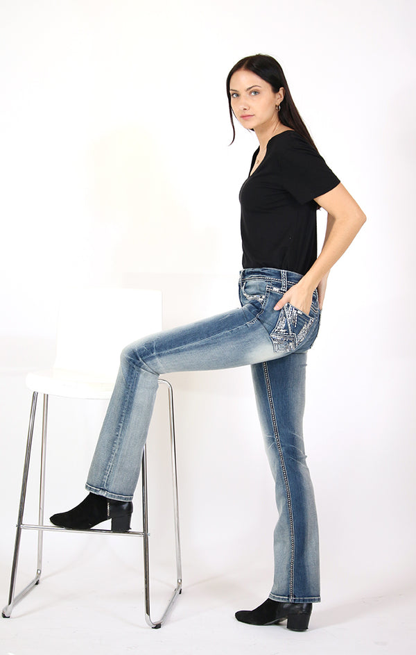 Western Abstract Embellished Mid Rise Bootcut Jeans | EB-61403