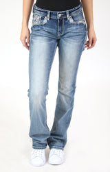 Abstract Embellished Mid Rise Bootcut Jeans | EB-61409