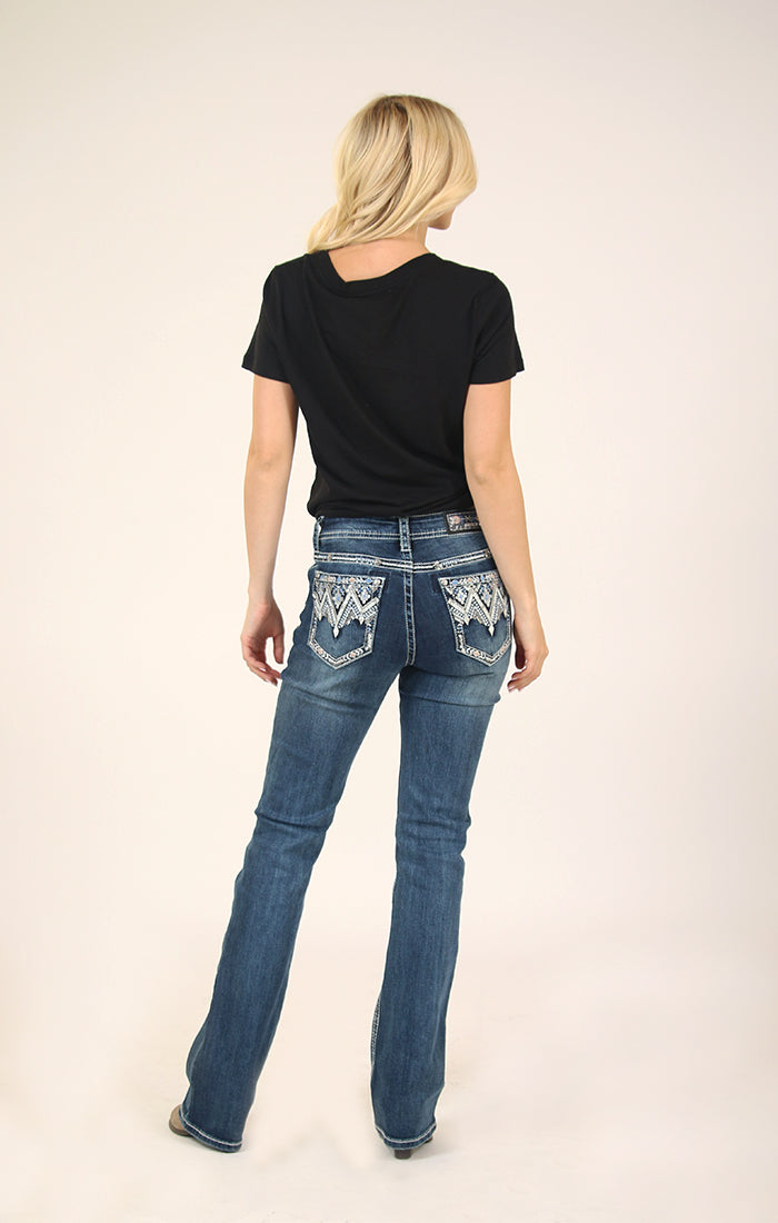 Aztec Chevron Pleather and Embroidered Easy Bootcut Jeans | EB-81391