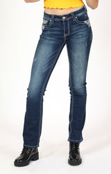 Border Arrow Embroidered Easy Bootcut Jeans | EB-81392
