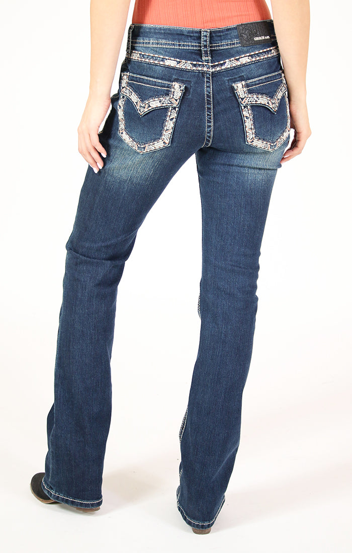 Orange Border Stitched Embroidered Flap Pocket Mid Rise Bootcut Jeans | EB-81393