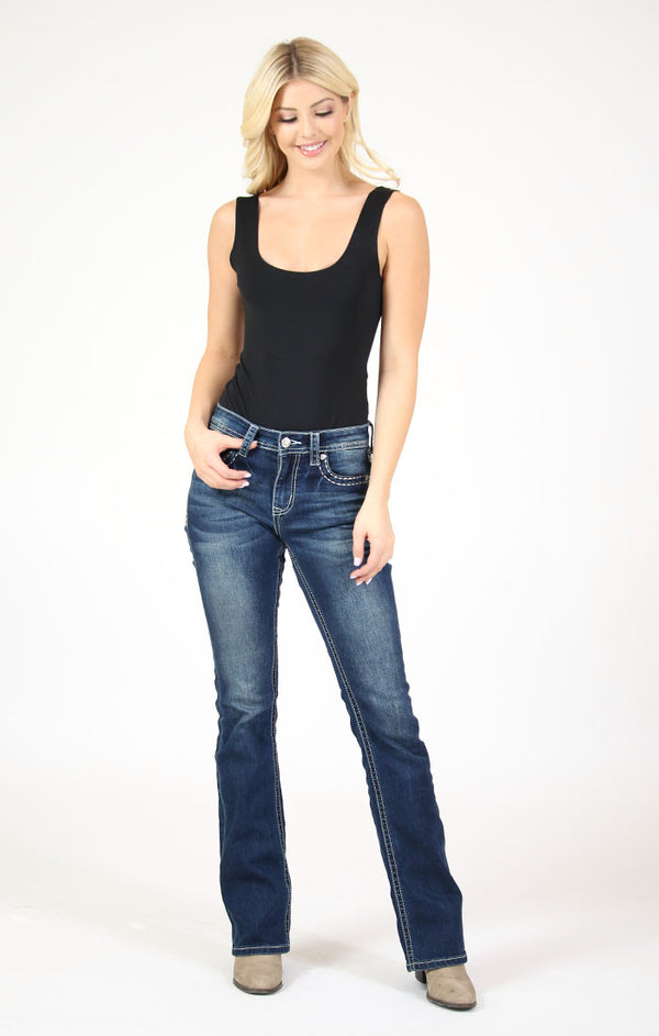 Leopard Print Embroidered Yoke and Flap Pocket Bootcut Jeans | JB-81394-32