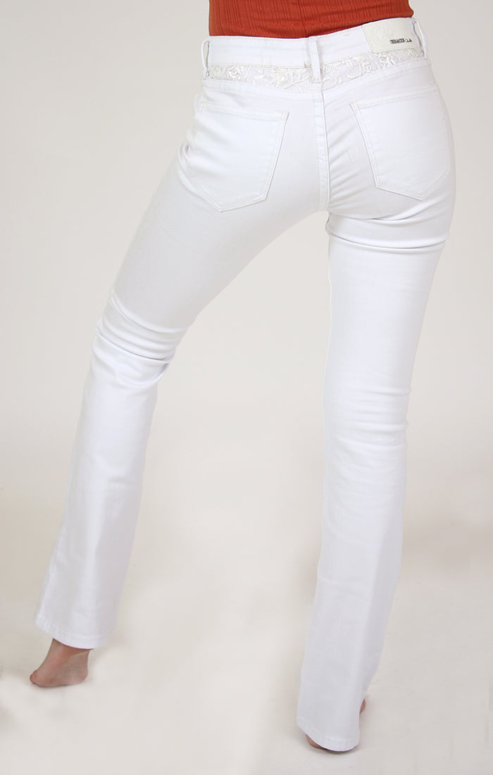 Lace Yoke-Detail White Easy Bootcut Jeans | EB-N068-WT