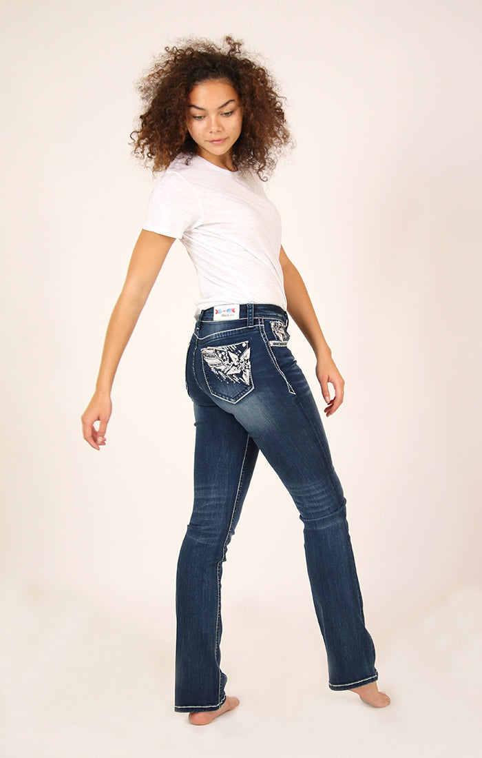 Dark Wash Americana Embellished Bootcut Jeans | S277