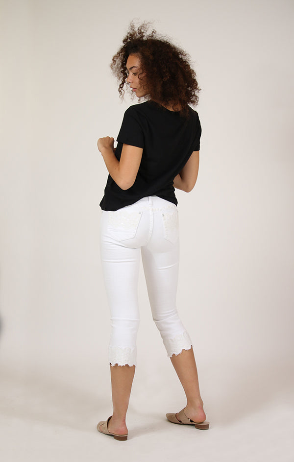 White Embellished Easy Cropped Flare Jeans | ECF-61115-WT