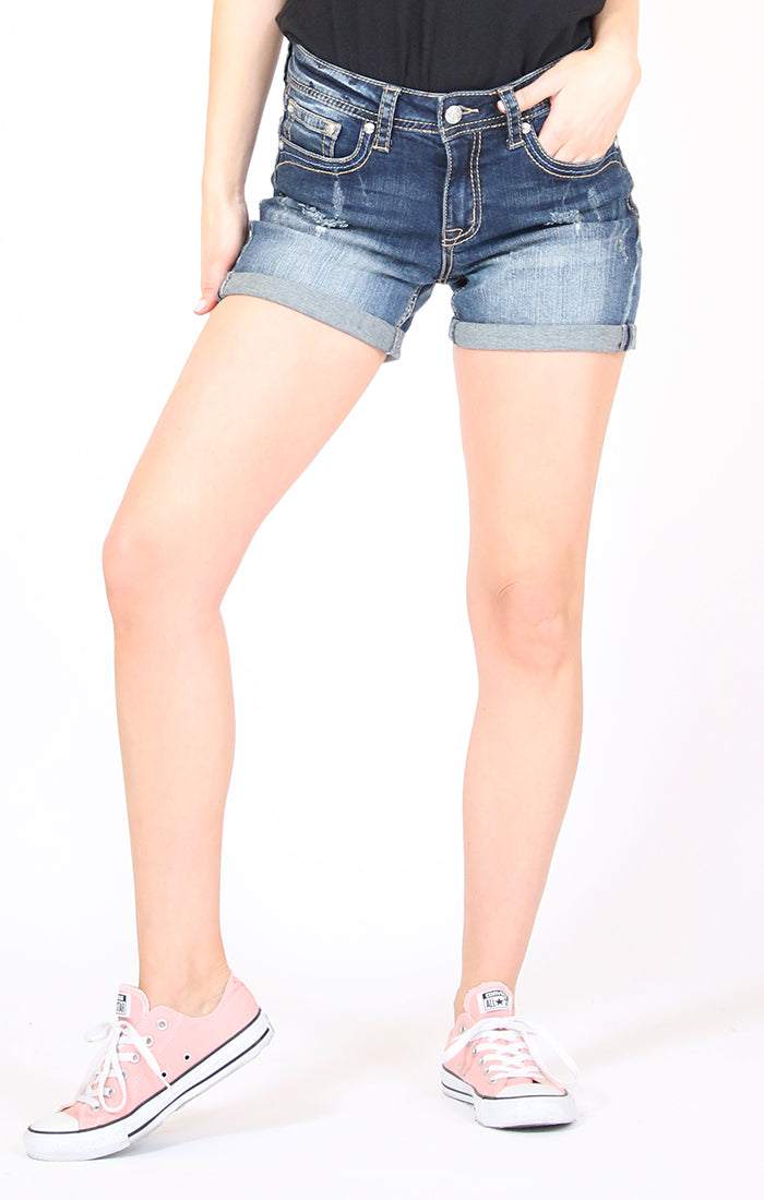 Distressed Medium Wash Mid Rise Denim Shorts | EH-51586
