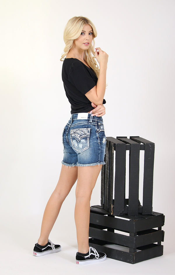 Faux Flap Frayed Hem Distressed Denim Shorts | EH-61408