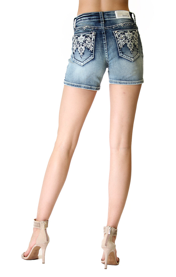 Aztec Motif Embellished Easy Denim Shorts | EH-71101