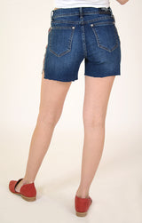 Floral Embroidered Side Stripe Denim Shorts | EH-9322