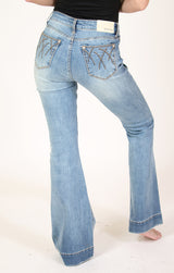 Abstract Stitched Lines  Mid Rise Flare Jeans | EL-51611