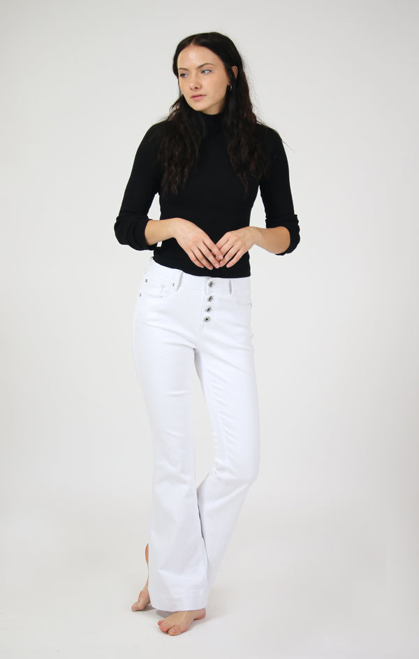 White Button Fly Mid Rise Flare Jeans | EL-81514-WT-32