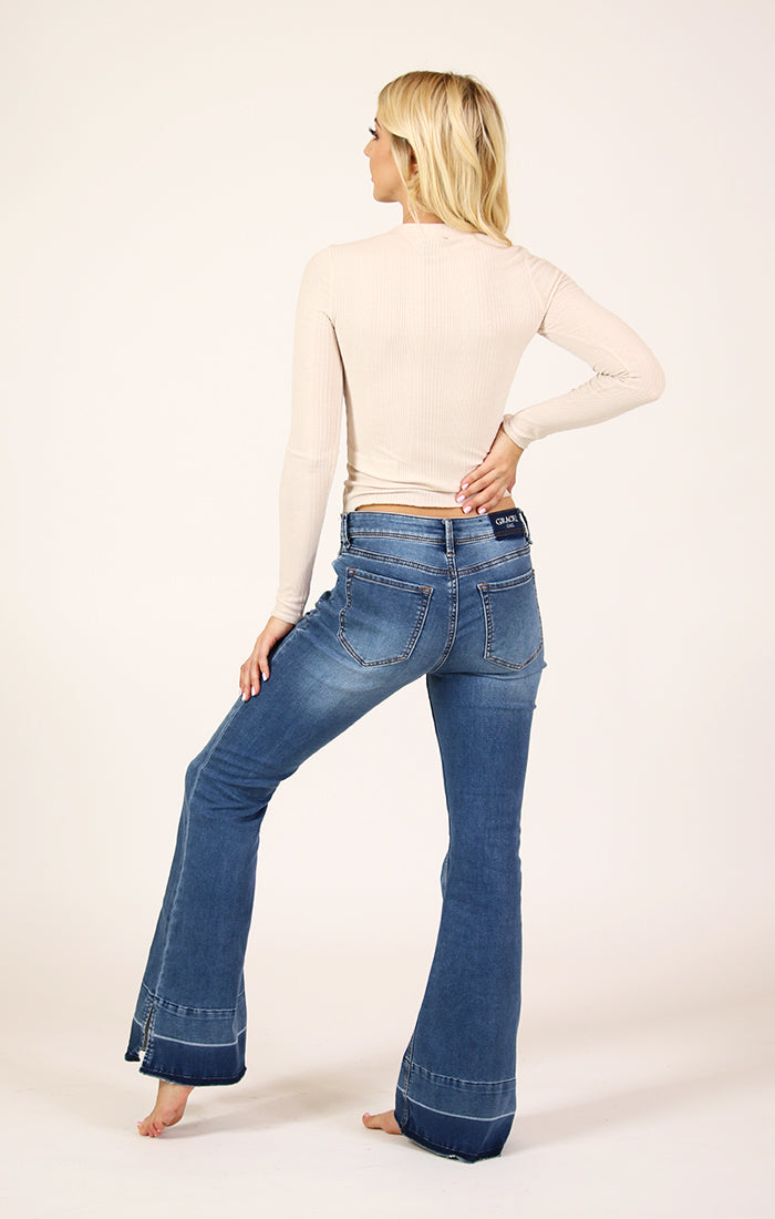Medium Wash Mid Rise Knit Denim Flare Jeans | EL-9262-32