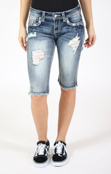 Diamond Embroidery Frayed Denim Bermuda Shorts | EM-61412